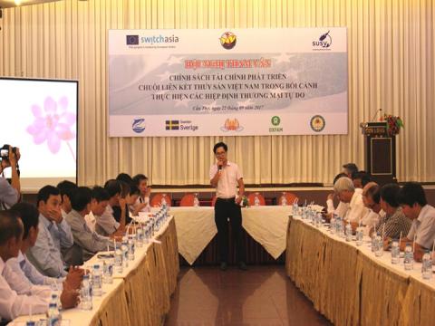 """Hội thảo tham vấn """"Chính sách tài chính khuyến khích phát triển chuỗi liên kết thủy sản trong bối cảnh Việt Nam tham gia các hiệp định thương mại tự do"""""""